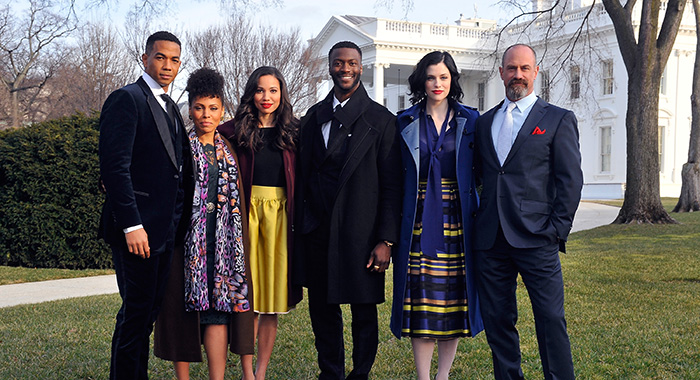 "WASHINGTON, DC - FEBRUARY 22: (L-R) Stars Alano Miller, Amirah Vann, Jurnee Smollett-Bell, Aldis Hodge, Jessica de Gouw and Chris Meloni appear at a screening and panel discussion of WGN America's ""Underground"" at The White House on February 22, 2016 in Washington, DC. (Photo by Larry French/Getty Images for WGN America) *** Local Caption *** Alano Miller; Amirah Vann; Jurnee Smollett-Bell; Aldis Hodge; Jessica de Gouw; Chris Meloni"